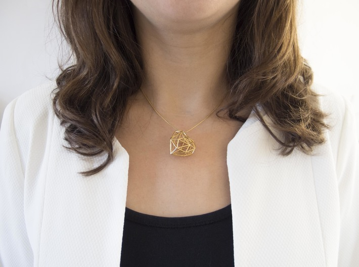 Metal Heart pendant 3d printed Wearing Gold Plated Heart