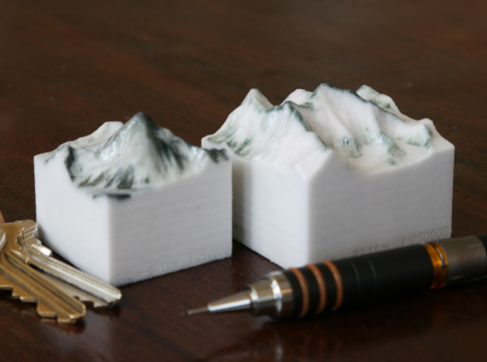 Mt. Everest, China/Nepal, 1:250000 3d printed K2 and Everest models, both at 1:250000