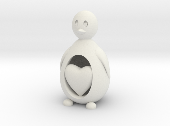 Penguin with a Heart 3d printed