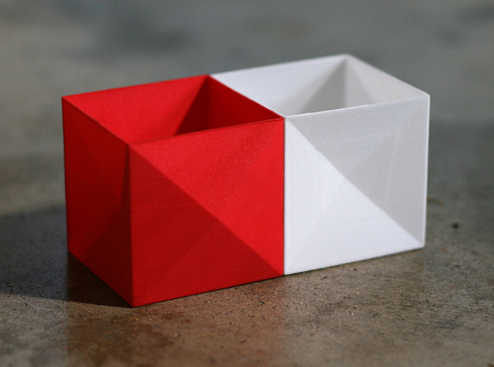 Tessellating Boxes 3d printed Tessellating design allows boxes to be paired together.