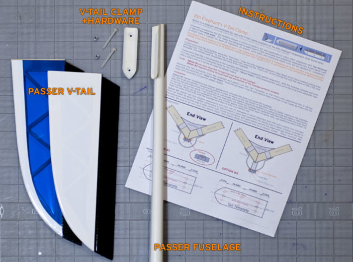 V-Tail Clamp: 105.5 degrees for Passer/X, etc. 3d printed Passer Fuselage & Tailfeathers with V-Tail Clamp & Printed PDF Instructions