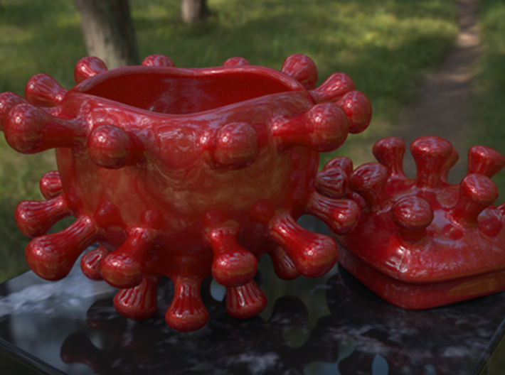 Microbe Sugar Bowl 3d printed