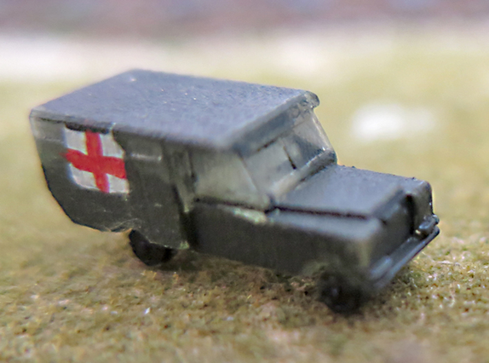 1/285 Land Rover S2a Ambulance,for 6mm wargaming 3d printed Land Rovers S2a ambulance - FUD. Painted.