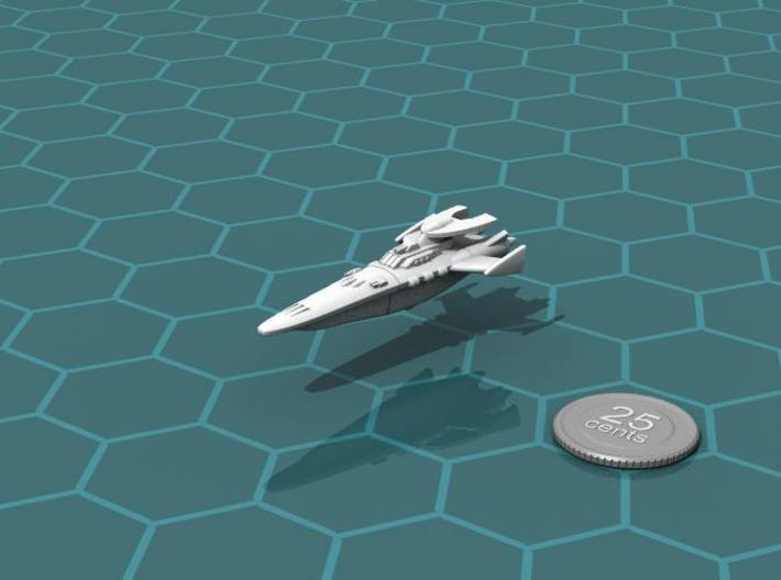 Novus Regency Destroyer 3d printed Render of the model, with a virtual quarter for scale.