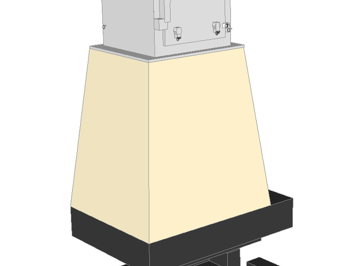 WIP - N 1:160 Semaphore Base 1 Cabinet B  3d printed Painted render - base with wide cabinet