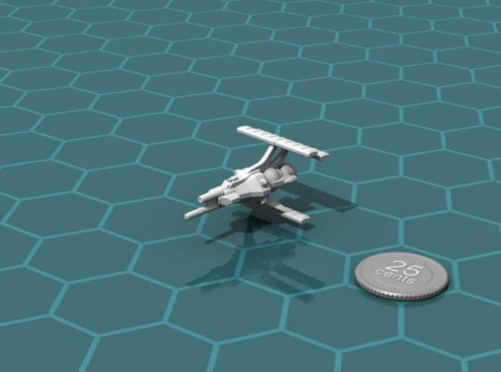 LCS Dartship 3d printed Render of the model, with a virtual quarter for scale.