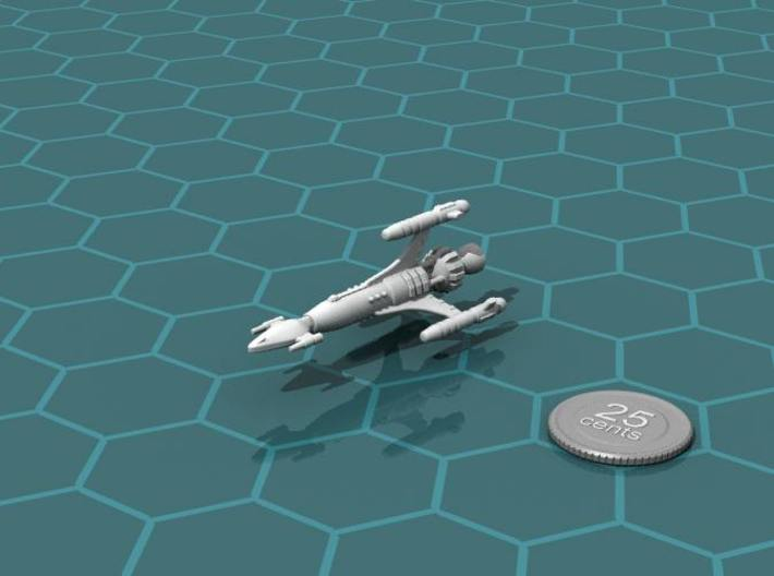 Privateer Antelope class Corsair 3d printed Render of the model, with a virtual quarter for scale.