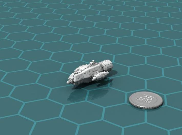 Jovian Pangolin class Light Carrier 3d printed Render of the model, plus a virtual quarter for scale.