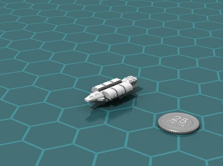 Light Freighter 3d printed Render of the model, with a virtual quarter for scale.