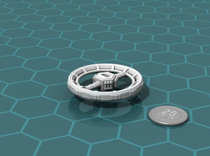 Orbital Ring City 3d printed Render of the model, with a virtual quarter for scale.