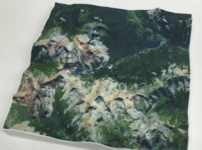 8'' Trout Lake, Colorado, USA 3d printed Photo of model, North is to the right
