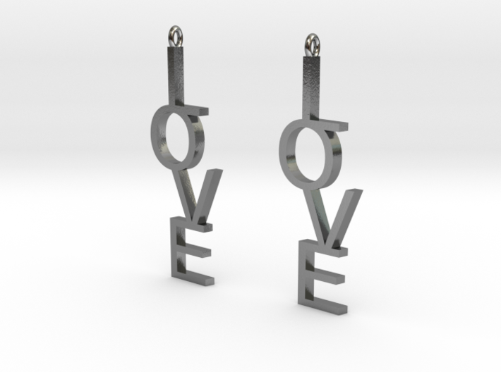 Love Earrings Large 3d printed