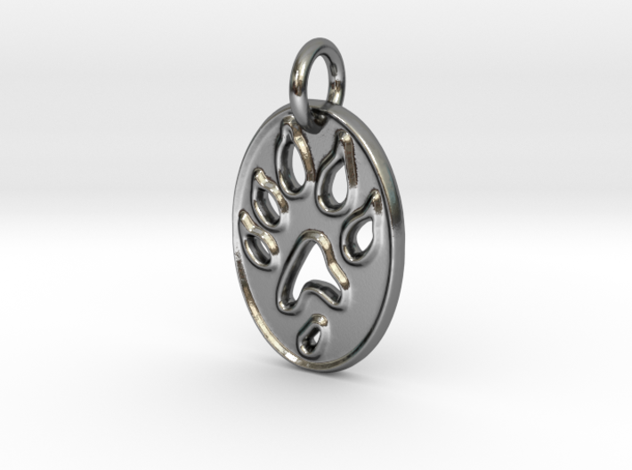 Tiny paw print ferret necklace 3d printed