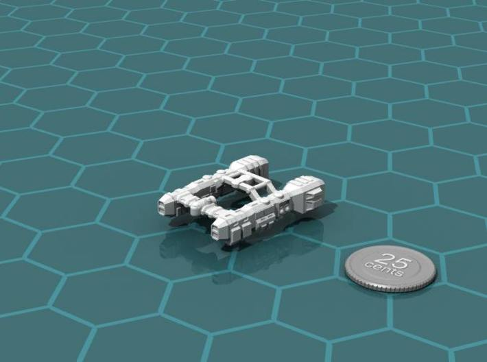 Salvage Cruiser 3d printed Render of the model, with a virtual quarter for scale.