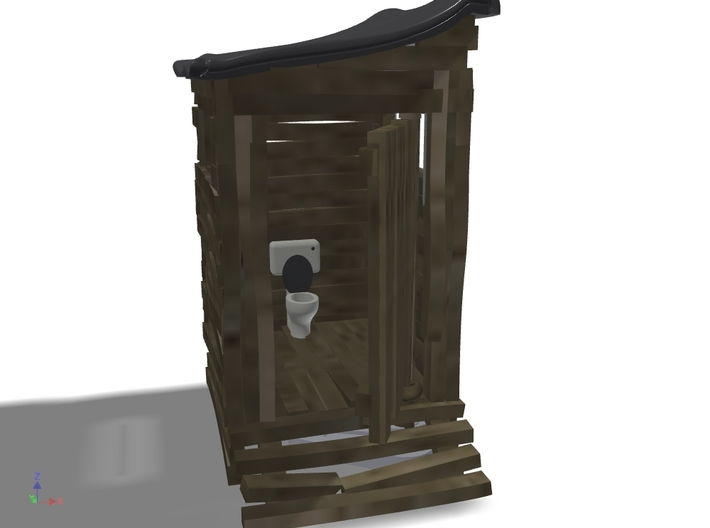 Scrap-lumber Ramshackle Outhouse, N-Scale (1:160) 3d printed 3D render, suggested paint scheme: Wood walls, white commode.