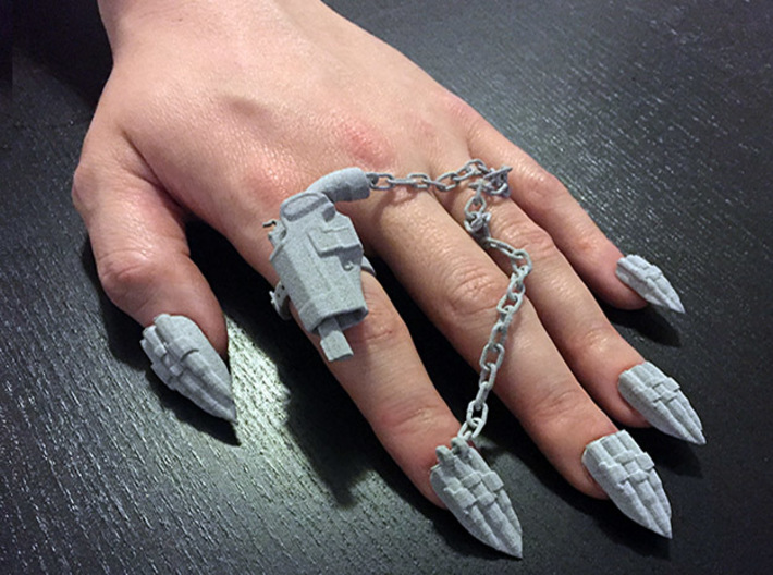 Bite the Bullet Nails (With Ring) *Custom Only 3d printed Example in Metallic Plastic