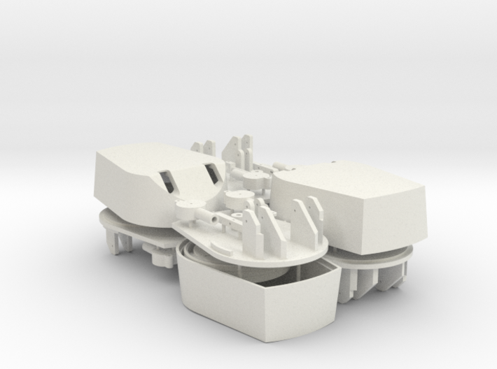 Working 6 inch turrets x 4 1/72 3d printed