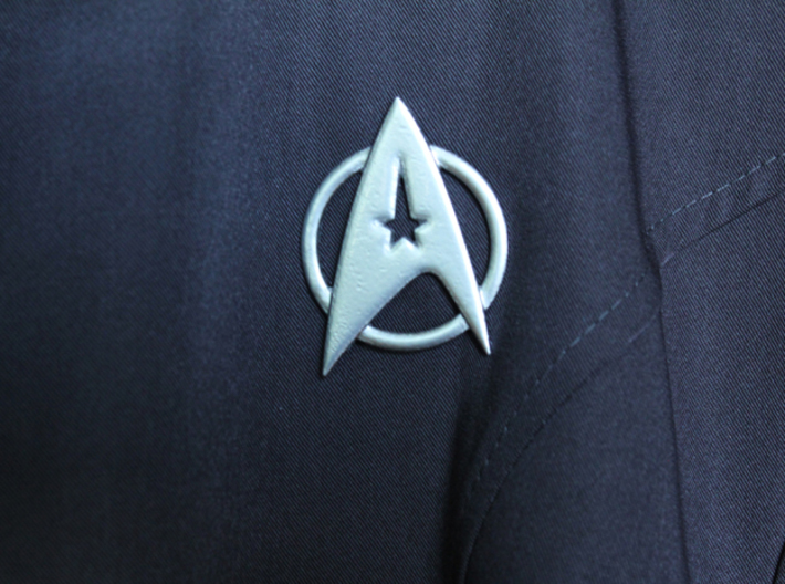 Starfleet Insignia for Dress Uniform 3d printed actual printed piece attached with pin backs
