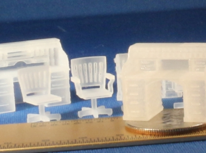 Rolltop desks and Chairs S Scale 3d printed
