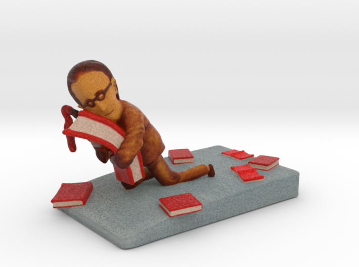 "Book Lover - 2"" tall 3d printed"