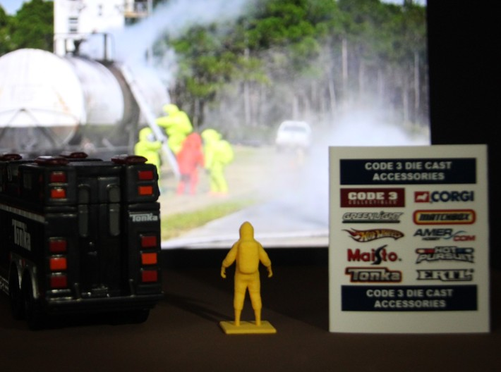 Level A Hazmat Technician, 1/64 3d printed Shown with similarly scaled accessories for illustrative purposes. Additional items not included.