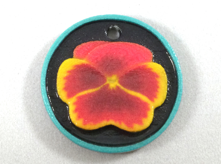 Pansy Pendant 3d printed