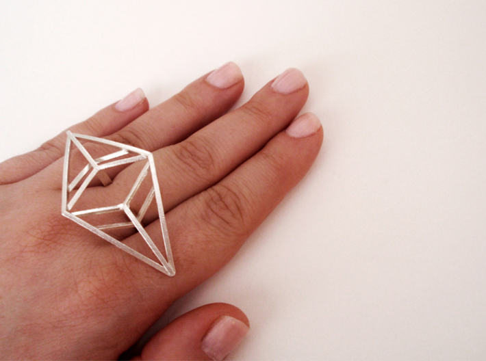 Statement geometric rhombus ring 3d printed Raw Silver (sterling silver, 925)