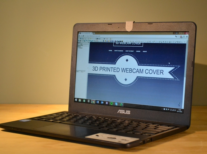Webcam Cover // 8mm // BIG 3d printed Front view of the 3D Webcam Cover
