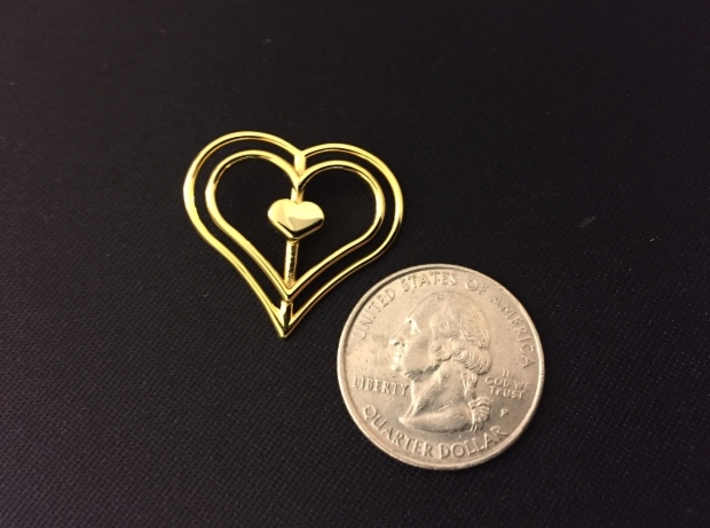 Three Heart Pendant 3d printed 14k Gold Plated with quarter for regerence