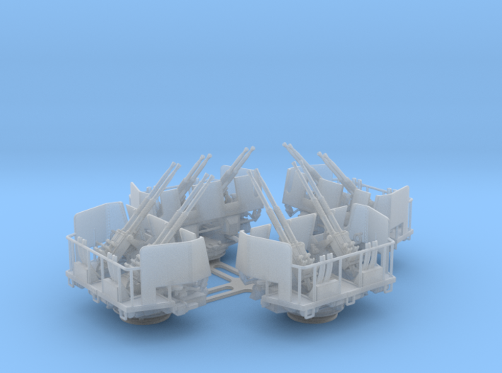 4 x Quad Bofors Shielded - Elevated 1/128 3d printed