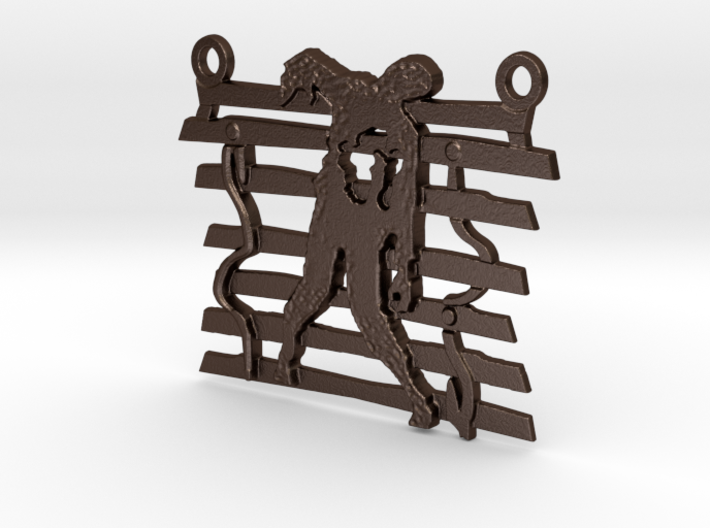 Zombie On A Fence Pendant 3d printed