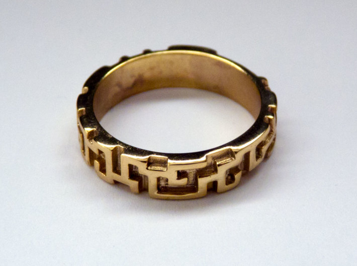 A maze ring (from $12.50) 3d printed Gold Plated Brass