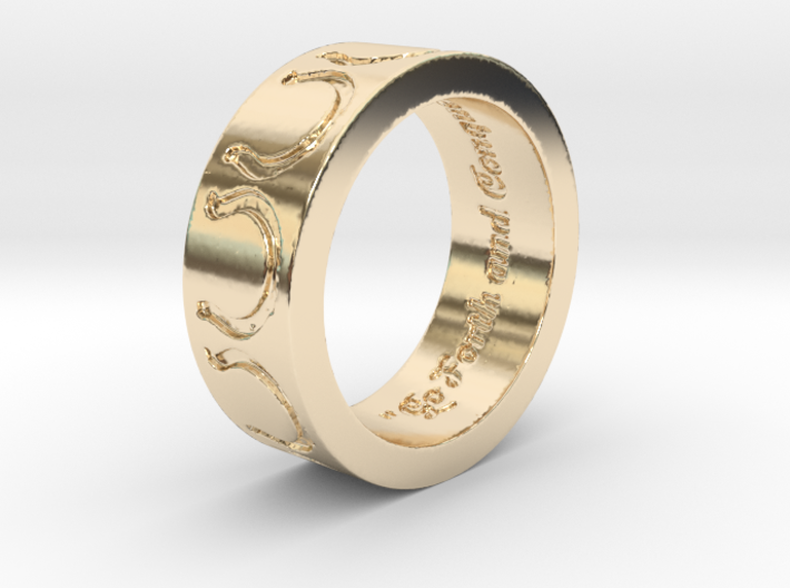 """Go Forth and Conquer"" Ring 3d printed"