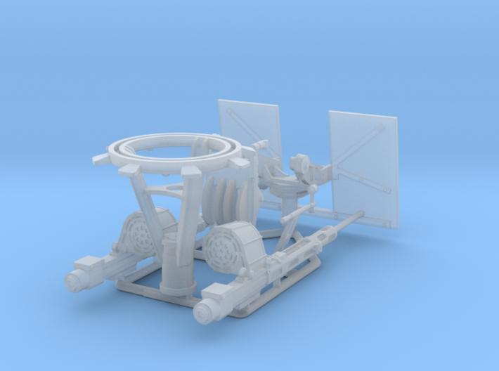 Twin Oerlikon American mounting 1-30scale 3d printed