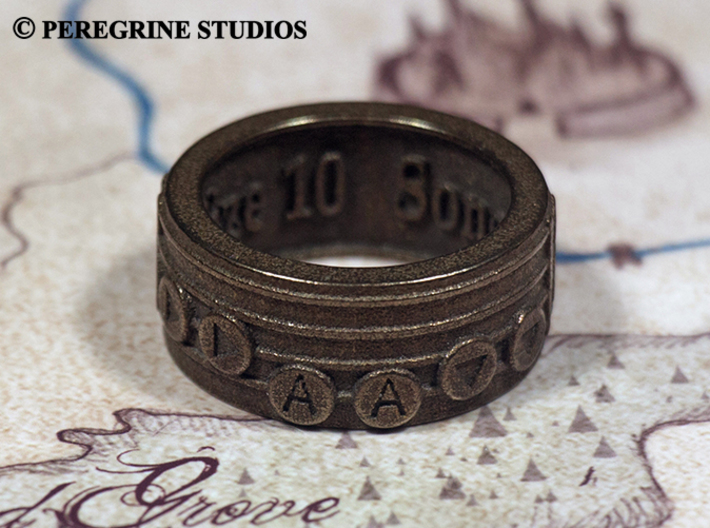 Ring - Song of Double Time 3d printed Polished Bronze Steel