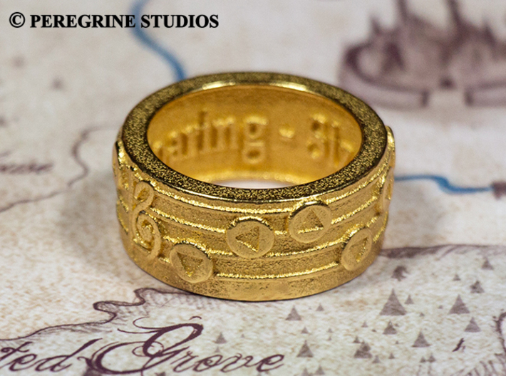 Ring - Song of Soaring 3d printed Polished Gold Steel