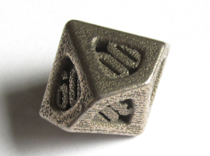 Thoroughly Modern d10 Decader 3d printed In Stainless Steel
