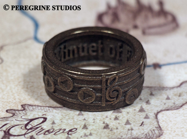 Ring - Minuet of Forest 3d printed Polished Bronze Steel