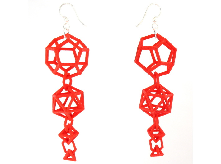 Platonic Progression Earrings - Clean 3d printed Earrings printed in Red Strong and Flexible, with earwires added
