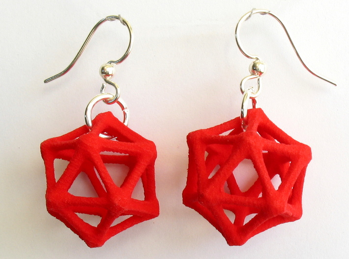 Icosahedron Earrings, bone style 3d printed Earrings printed in Red Strong and Flexible, with earwires added