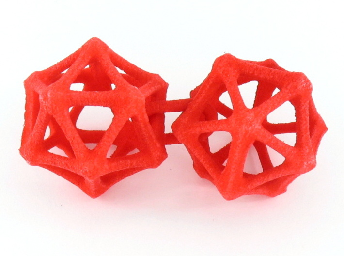 Icosahedron Earrings, bone style 3d printed Earrings printed in Red Strong and Flexible, shown looped as printed