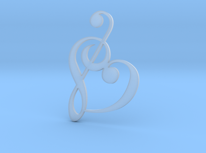 Heart Clef Pendant - Ultra detail 3d printed