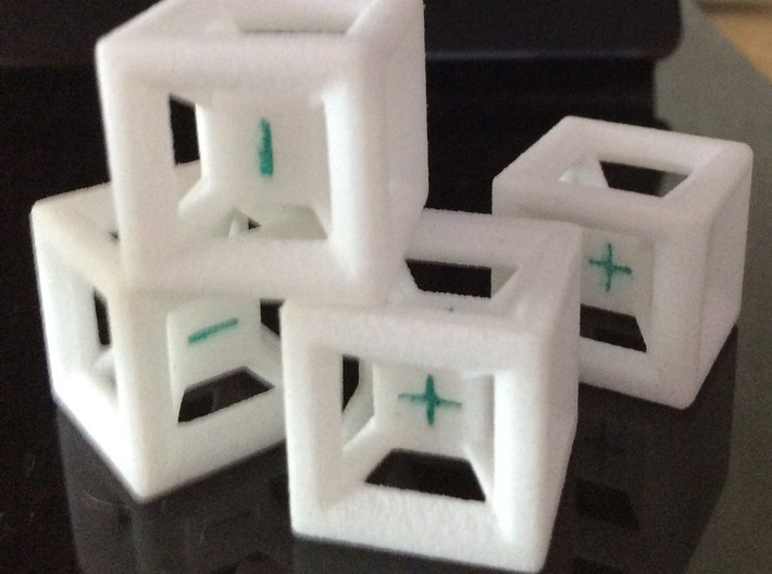 Fudge Dice Hypercube 1.5cm (D3) 3d printed Printed with some green marker for side highlights