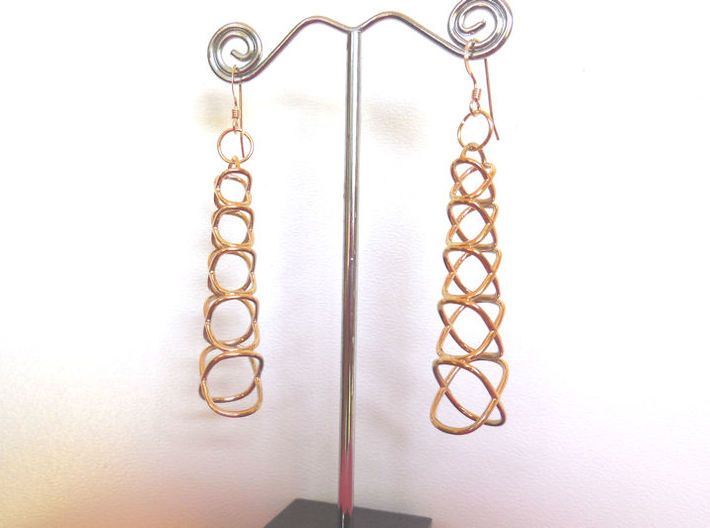 XOXO Tower - Pair of Precious Metal Earrings 3d printed