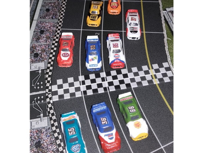 Miniature cars, NASCAR (42 pcs) 3d printed Hand-painted White Strong Flexible Polished. Pic courtesy of BGG user NezRobbo