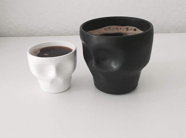 Skull Espresso Cup 3d printed Skull cup and mug: gloss white and black matte porcelain