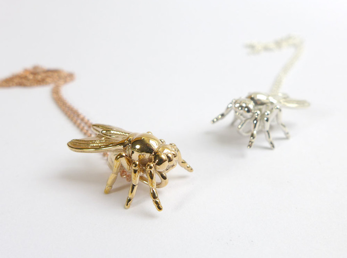 Drosophila Fruit Fly Pendant - Science Jewelry 3d printed Drosophila pendants in polished bronze and polished silver