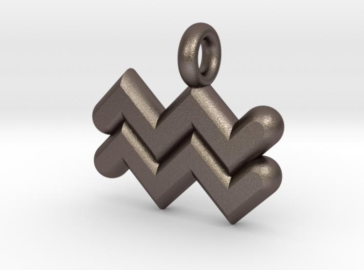 Aquarius Symbol Keychain 3d printed