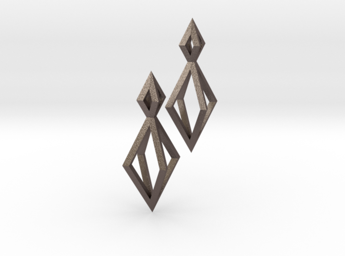 Double Diamond Earrings 3d printed