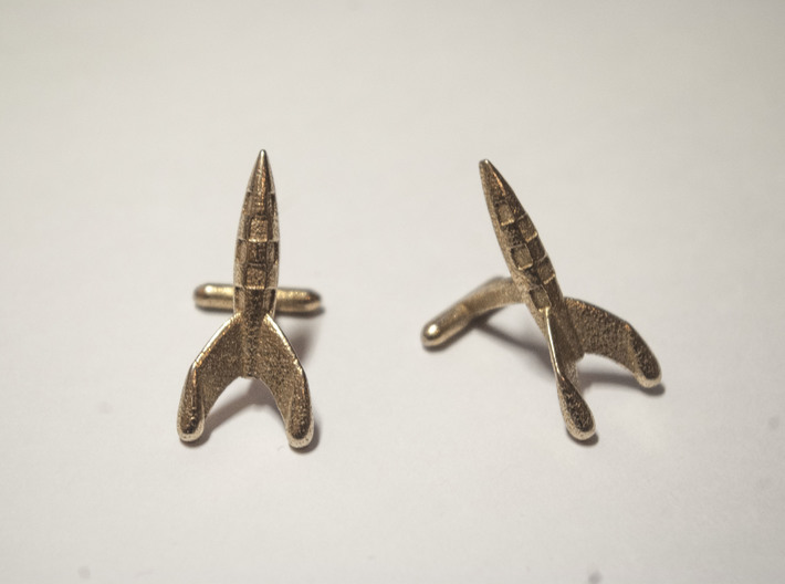 Tintin Rocket Cufflinks 3d printed Stainless steel